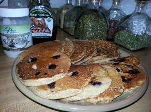 Protein pancakes with fresh blueberries!