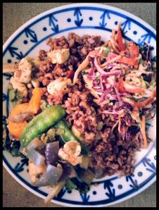 Stir fry with Asian Style Slaw (made without edamame)