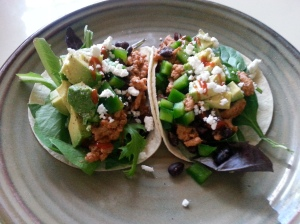 Ground turkey tacos with lettuce and diced veggies/w sprinkle of feta ...