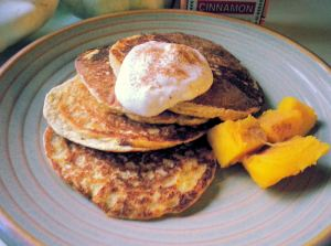 Protein pancakes with pumpkin puree, pumpkin pie spice, and Greek yogurt mixed with almond extract and cinnamon. Yum.